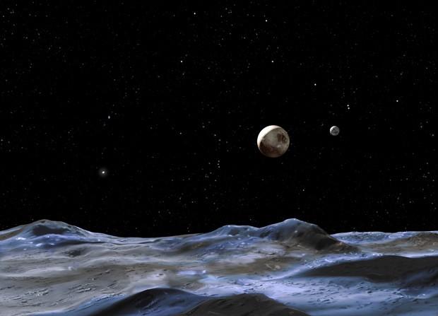 Concepção artística mostra Plutão (disco maior) e suas possíveis luas (Foto:  NASA, ESA and G. Bacon (STScI))