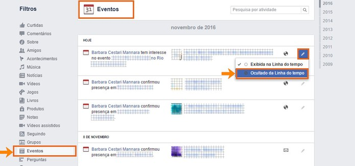 Oculte o registro sobre o evento da sua linha do tempo do Facebook (Foto: Reprodução/Barbara Mannara)