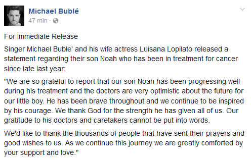 Noah, filho de Michael Bublé, está curado do câncer, diz TV
