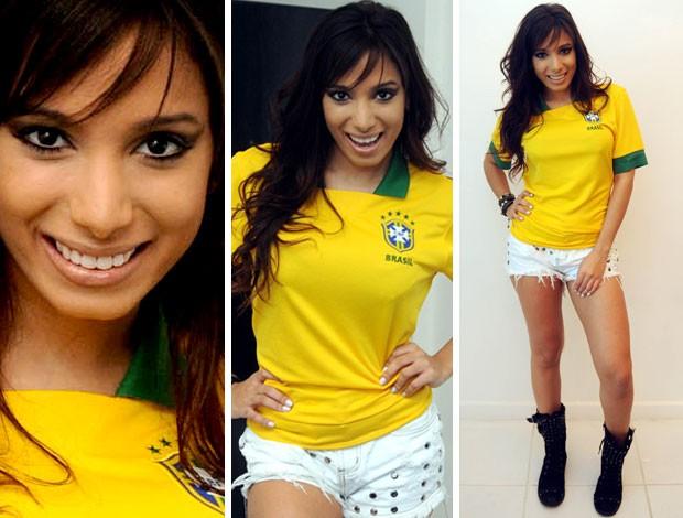 MONTAGEM cantora anitta camisa brasil (Foto: André Durão / Globoesporte.com)