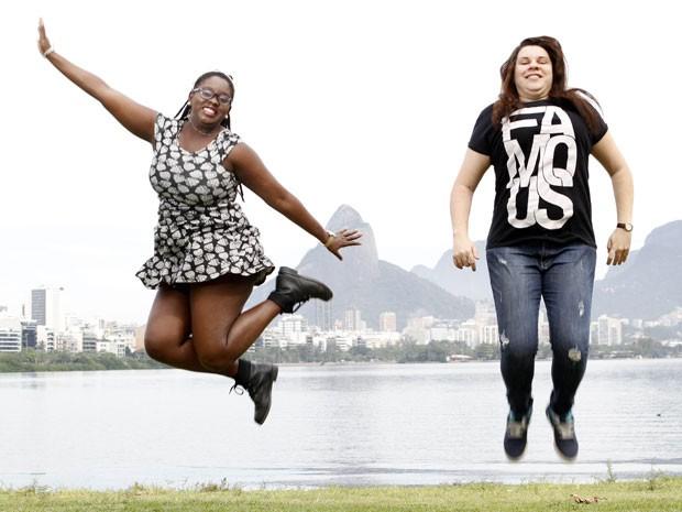Juntas há três anos, Naira Fernandes (à esquerda) e Mayara Monteiro vão se casar no Rock in Rio 2015 (Foto: Felipe Hamower/G1)