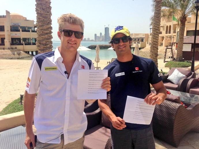 Marcus Ericsson e Felipe Nasr, dupla da Sauber, no Bahrein (Foto: Divulgação)
