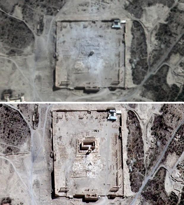 Comparação de imagens aéreas mostram o estrago provocado por explosão no Templo de Bel, na cidade história de Palmira, na Síria (Foto: UNITAR-UNOSAT via AP)