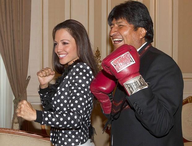 Jennifer Salinas e Evo Morales, Boxe (Foto: Agência Reuters)