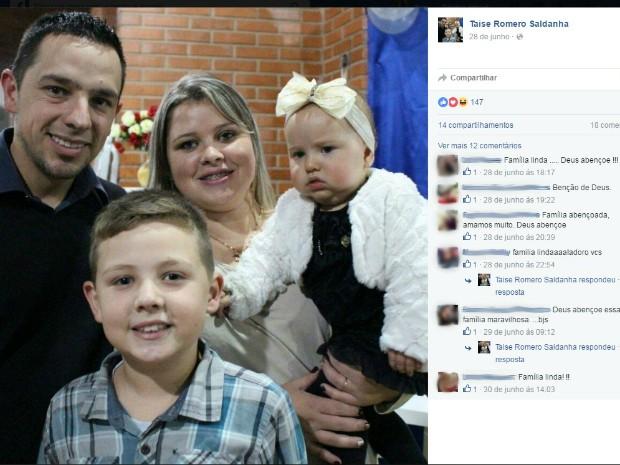 Romero Fernandes Saldanha, Taise de Freitas, Beatriz Freitas Saldanha, Bernardo Freitas Saldanha, Acidente BR-285 Caseiros casal bebê criança nove anos (Foto: Reprodução/Facebook)