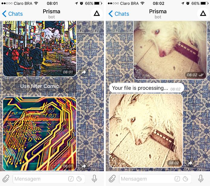 Com o @prismabot é possível aplicar os filtros do app de edição de imagens (Foto: Reprodução/Daniel Ribeiro)