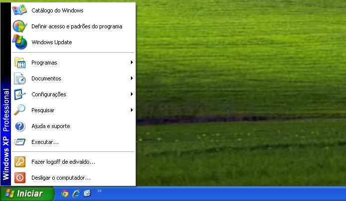 Menu Iniciar clássico no Windows XP (Foto: Reprodução/Edivaldo Brito)