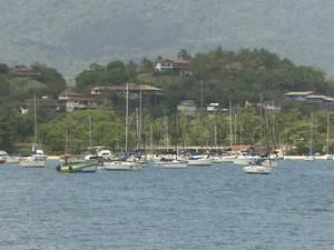 Praia de Ilhabela nesta quinta-feira  (Foto: Reprodução/TV Vanguarda)