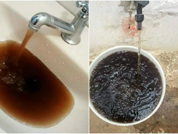 Água de coloração escura causa revolta em moradores de São João do Piauí (Foto: Reprodução/ Socorro Pereira e Isilda Alves de Carvalho)