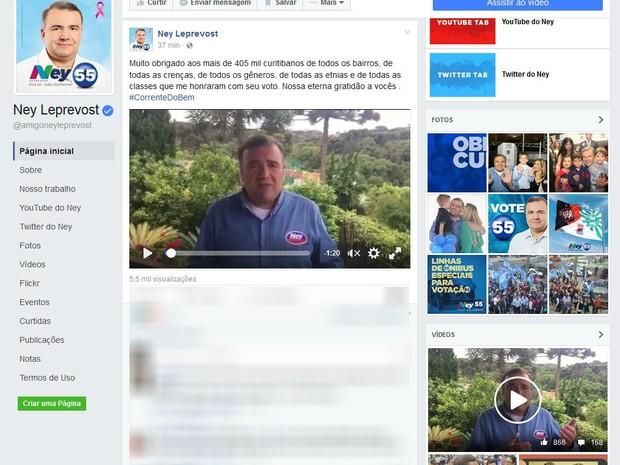 Ney Leprevost agradeceu aos votos recebidos na eleição (Foto: Reprodução/Facebook)