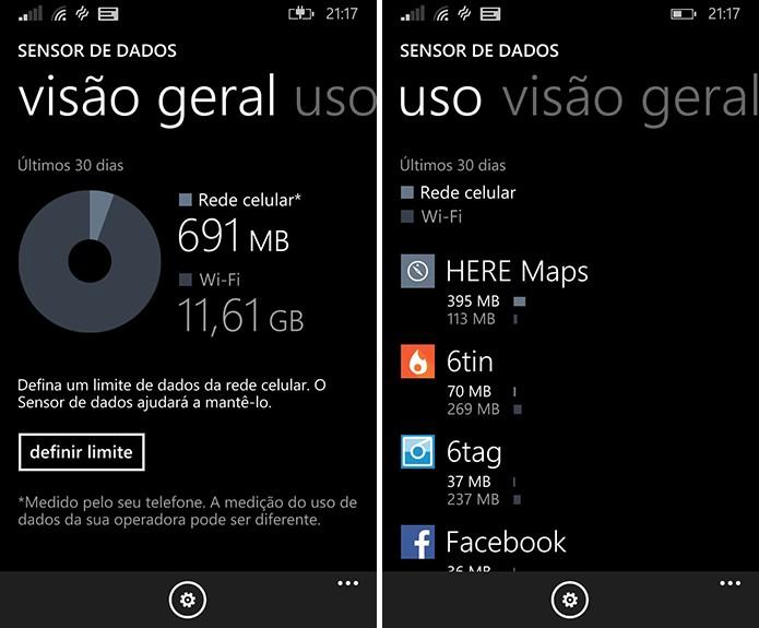 Sensor de dados do Windows Phone oferece controle completo sobre o consumo de Internet no sistema da Microsoft (Foto: Reprodução/Elson de Souza)