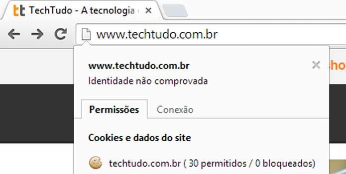 Barra de endereços permite acessar rapidamente informações de segurança (foto: Reprodução/Chrome)