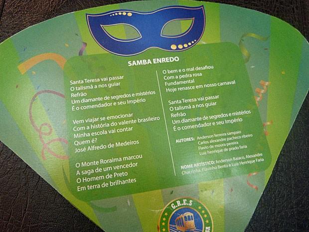 Letra do samba-enredo foi escolhida em um concurso lançado no Gshow (Foto: Gshow)