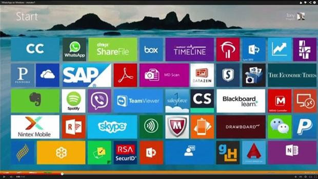 Durante apresentação, Microsoft mostra ícone do WhatsApp na área de aplicativos do Windows 8, o que sinalizaria a chegada do app aos PCs. (Foto: Reprodução/Youtube.com)