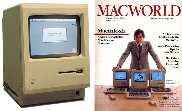 Steve Jobs apresenta os primeiros modelos do Macintosh (Foto: Reprodução/Forbes)