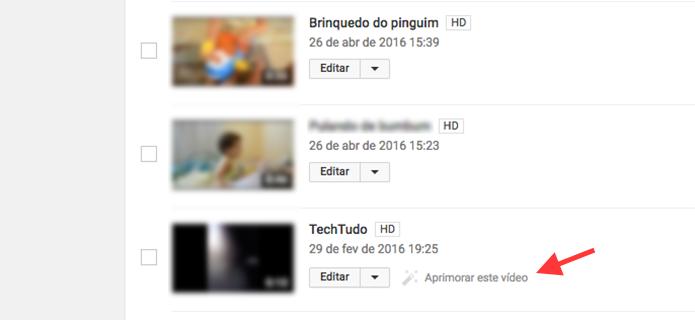Link para aprimoramento de um vídeo com estabilidade em um canal do YouTube (Foto: Reprodução/Marvin Costa)