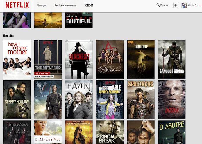 Visualização de todas as recomendações do Netflix proporcionada pelo God Mode (Foto: Reprodução/Marvin Costa)