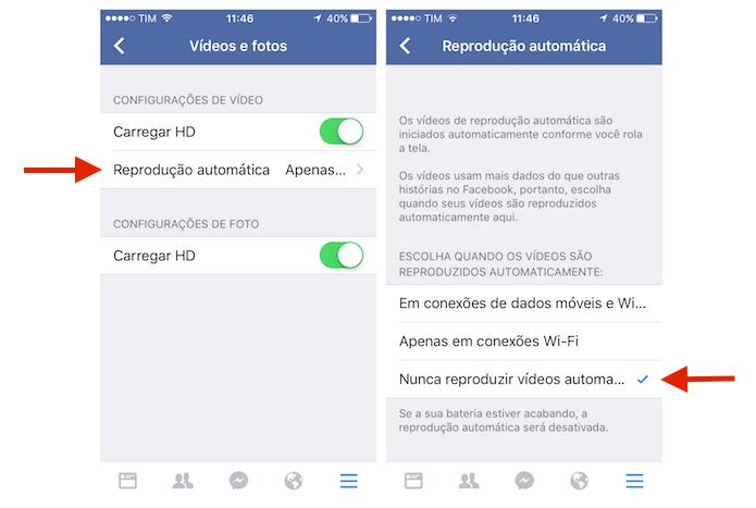 Desativando a reprodução automática de vídeos no Facebook para iPhone (Foto: Reprodução/Marvin Costa)