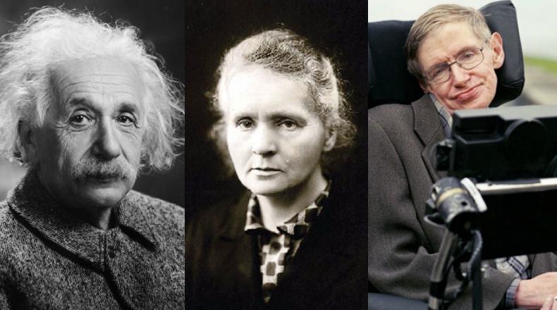 Einstein, Marie Curie e Stephen Hawking: alguns dos maiores nomes da história da ciência (Foto: Reprodução)