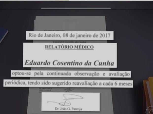 Atestado Cunha (Foto: Reprodução/Jornal Nacional)