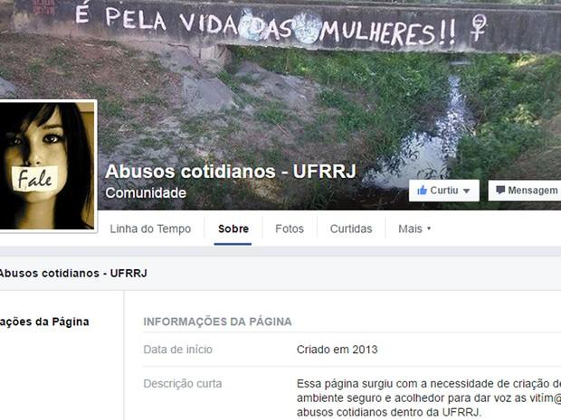 Página no Facebook criada em 2013 reúne relatos de mulheres sobre abusos sexuais sofridos nas dependências do campus em Seropédica. (Foto: Reprodução/Facebook)