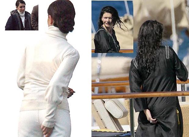 Penélope Cruz (à esq.) e Catherine Zeta-Jones foram flagradas enquanto arrumavam a calcinha (Foto: Reprodução)