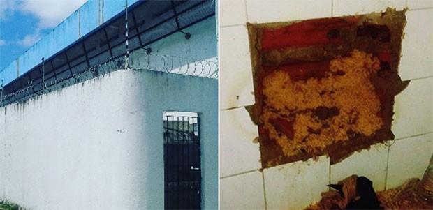 Buraco estava sendo aberto na parede do banheiro de uma das celas da unidade, onde 20 presos estão custodiados (Foto: Reprodução/Sejuc)
