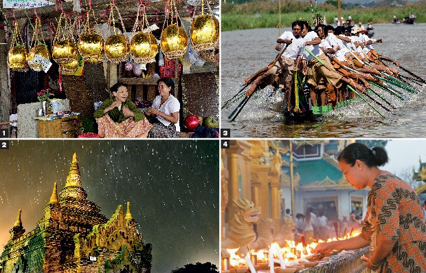 ROTINA PECULIAR 1. Duas vendedoras no mercado de Mandalay oferecem cocos folheados a ouro, que servirão como oferendas numa festa religiosa budista 2. À noite, alguns santuários de Bagan são iluminados por velas e pelas estrelas 3. Uma canoa com 64 remado (Foto: Haroldo Castro/ÉPOCA)