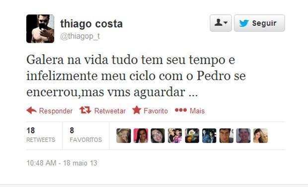 Cantor Thiago publica no Twitter mensagem de que a dupla que fazia com Pedro terminou (Foto: Reprodução/Twitter)