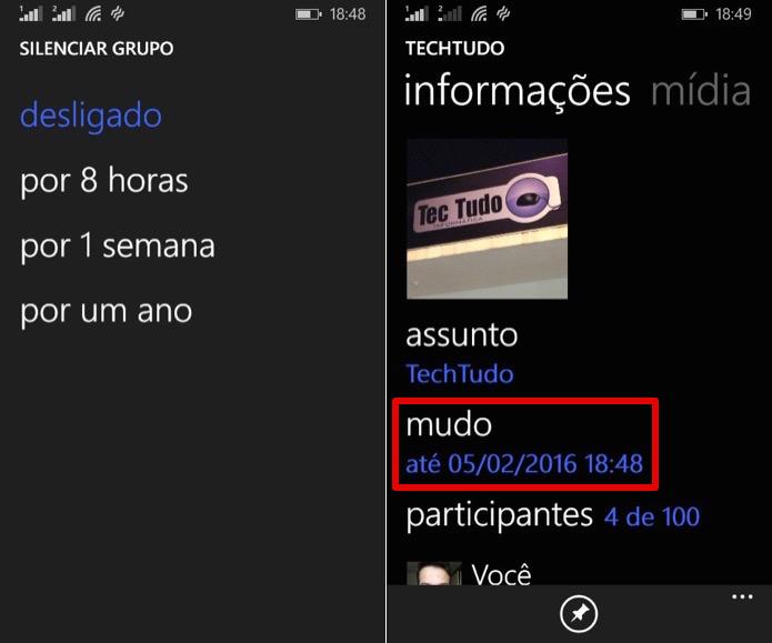 Silenciando notificações de um grupo no Windows Phone (Foto: Reprodução/Helito Bijora)  (Foto: Silenciando notificações de um grupo no Windows Phone (Foto: Reprodução/Helito Bijora) )
