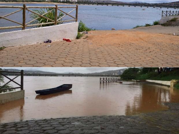 Rio Doce em Colatina em 9/11/15 (acima) e nesta quarta-feira próximo a atingir inundação (abaixo) (Foto: Viviane Machado/ G1 e Raquel Lopes/ A Gazeta)