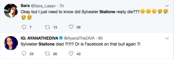 Fãs lamentando a falsa morte de Sylvester Stallone (Foto: Twitter)