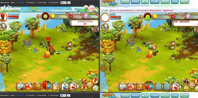 À esquerda, o original Cloudstone. À direita, sua cópia chinesa QQ Sky City and Warriors.  (Foto: Divulgação)