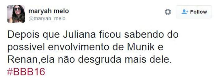 post renan juliana bbb16 (Foto: TV Globo)