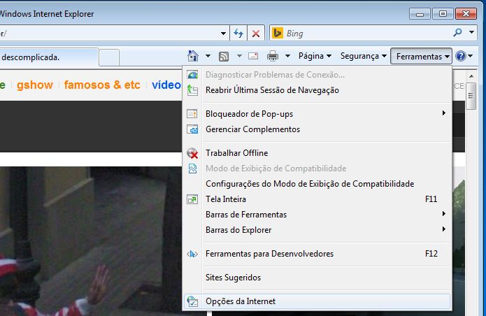 b2af20ea8 Clicando em Opções de Internet no Internet Explorer (Foto   Reprodução Edivaldo Brito)