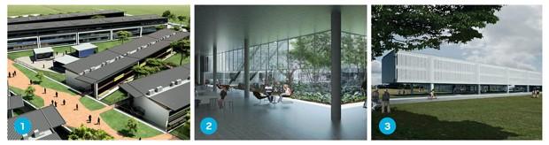 está no papel Três projetos previstos para execução no ITA: novos alojamentos (1), biblioteca (2) e o prédio da divisão de ciências fundamentais (3). A área acadêmica construída vai passar de 53 mil para 97 mil metros quadrados (Foto: Divulgação)