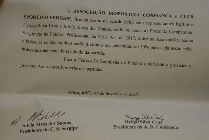 Acordo entre Confiança e Sergipe para divisão de renda (Foto: Divulgação/ADC)