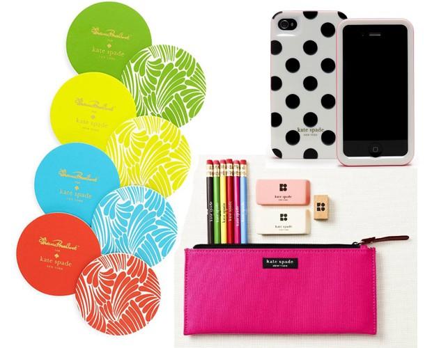 Mais do e-commerce: kit de porta-copos, R$ 68; case para iPhone, R$ 148; e kit com estojo, lápis e borrachas, R$ 168 (Foto: Divulgação)