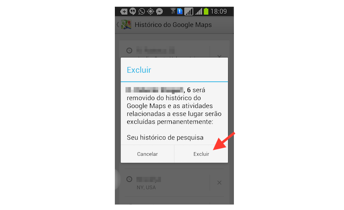 Excluindo um endereço pesquisado no Google Maps pelo Android (Foto: Reprodução/Marvin Costa)