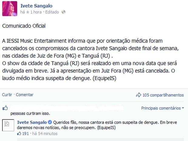 Ivete Sangalo Dengue; Bahia (Foto: Reprodução/Facebook)