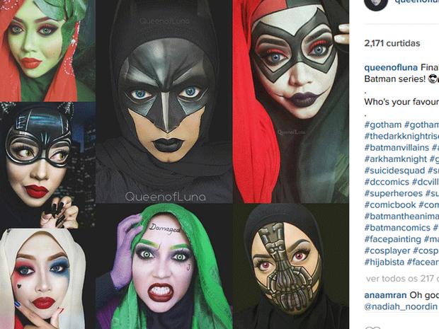 Saraswati com maquiagem dos personagens de Batman (Foto: Reprodução/Instagram/queenofluna)