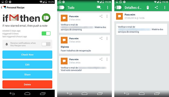Com o IFTTT é possível, por exemplo, fazer o Gmail enviar lembretes automáticos para o celular (Foto: Reprodução/Paulo Alves)