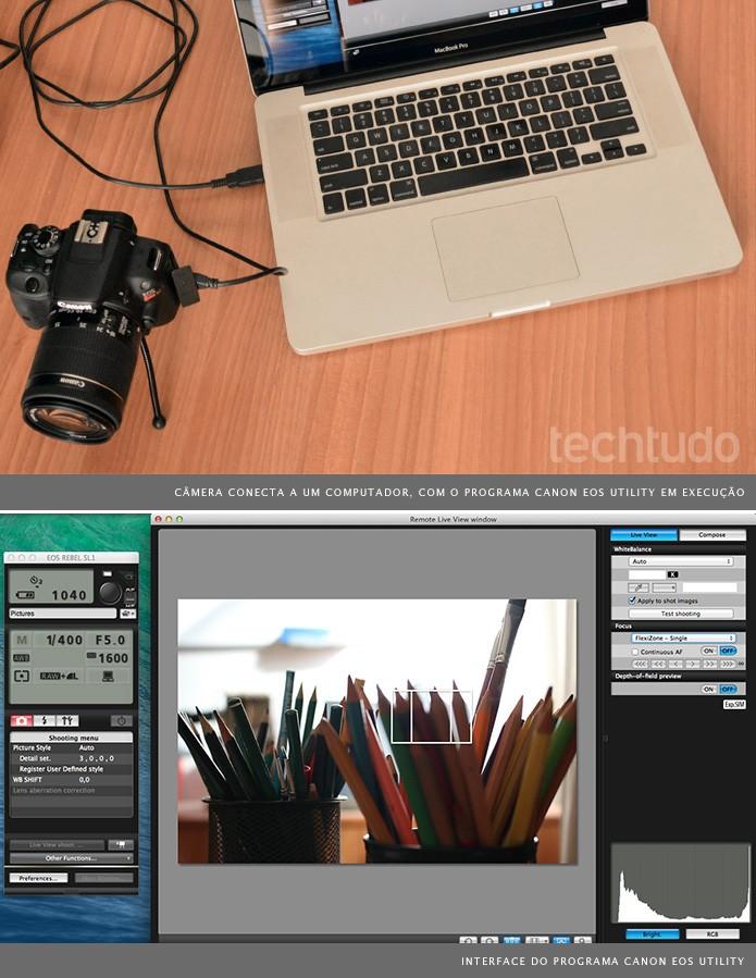 É possível controlar a configuração da câmera quando conectada a um computador (Foto: Adriano Hamaguchi/TechTudo)