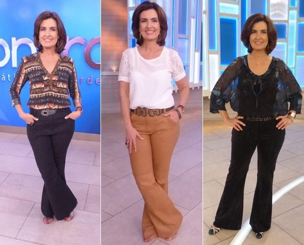 Fátima Bernardes em três diferentes looks de calça e blusa (Foto: Gshow)