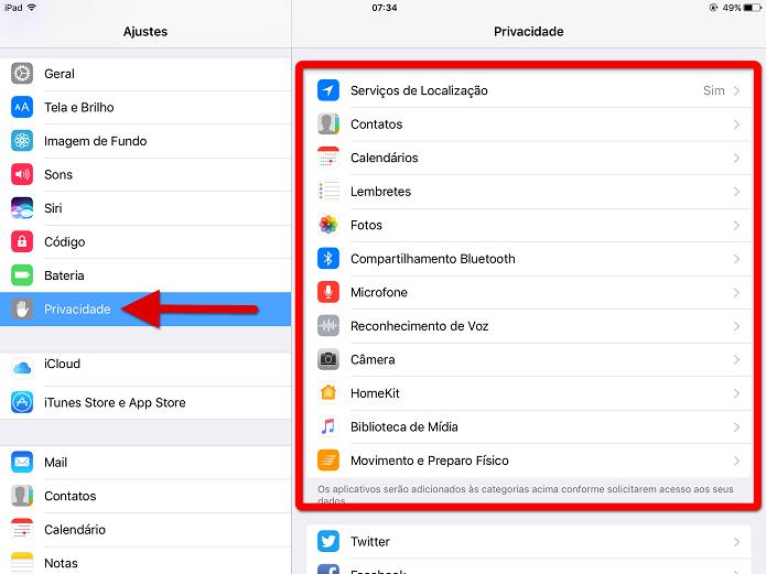 Acesse os ajustes de privacidade do iOS (Foto: Felipe Alencar/TechTudo)