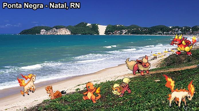 Pokémons de Fogo podem aparecer na areia da praia em Pokémon Go devido ao calor (Foto: Reprodução/Rafael Monteiro)