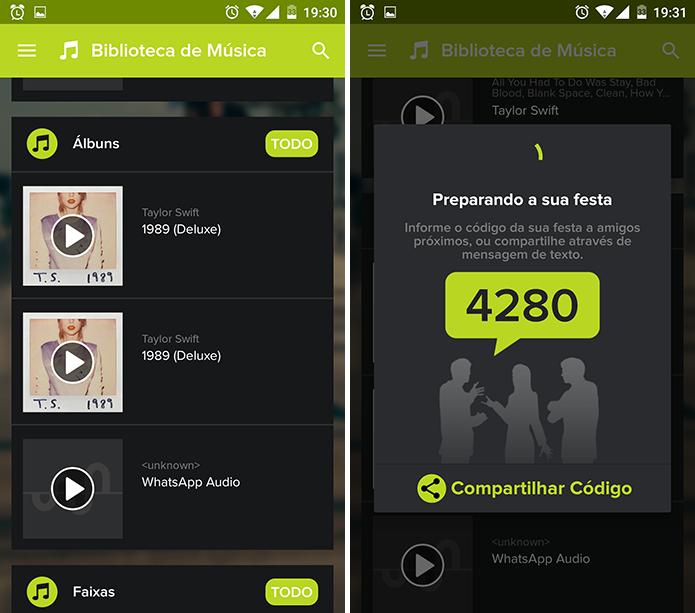AmpMe começará a reproduzir música e fornecerá código para que usuário comece festa (Foto: Reprodução/Elson de Souza)