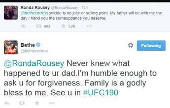 Bethe Correia pede desculpas a Ronda Rousey por piada com suicídio