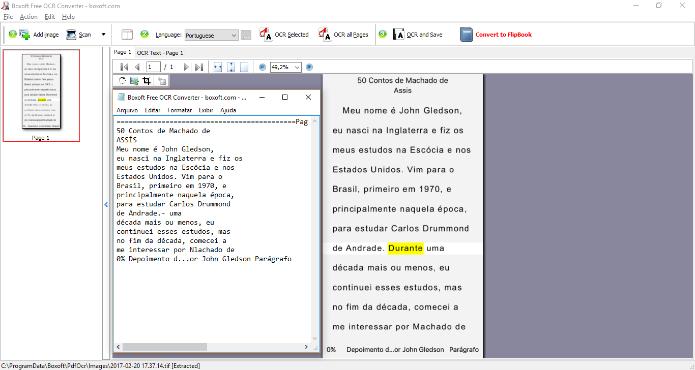 O Boxoft Free OCR é ideal para extrair o texto um grande volume de imagens (Foto: Reprodução/Daniel Ribeiro)