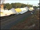 Seis vagões descarrilam, atingem carro e empresa em Cosmorama, SP